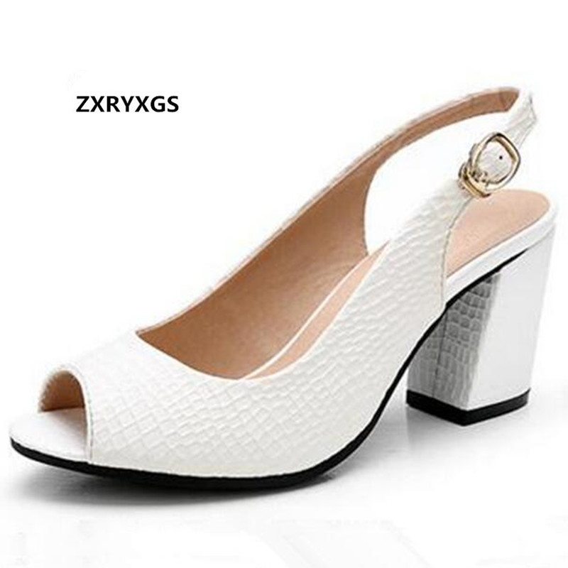 ZXRYXGS brand shoes summer Real leather shoes woman sandals high heels 2019 New fish head summer