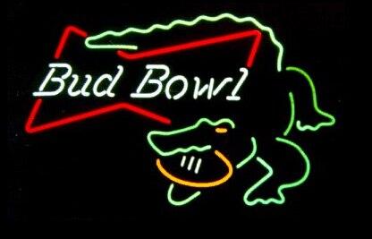 Custom Bud Bowl Alligator Glass Neon Light Sign Beer Bar