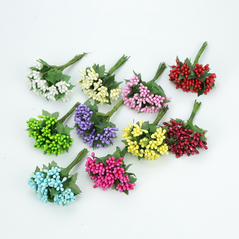 12pcs Artificial flowers christmas decorations for home wedding bridal accessories clearance diy gifts box fake stamen scrapbook