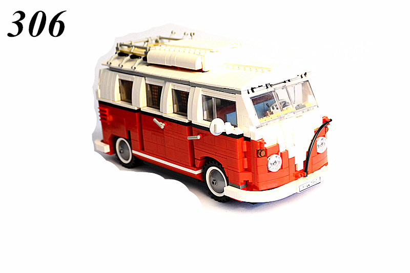 AIBOULLY 306 Creator series the Volkswagen T1 Camper Van Model Building Blocks classic Compatible with 10220 Technic car Toys lightaling led light set compatible with brand camping van 10220 building model creator decorate kit blocks toys