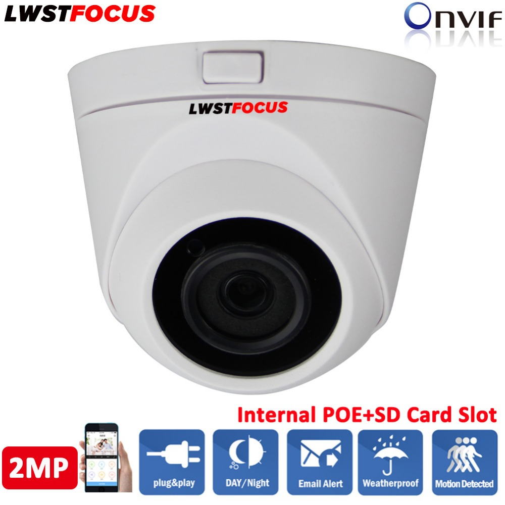 LWSTFOCUS 2MP 1080P HD IP Camera Micro SD/TF Card Sony IMX323 Onvif P2P Indoor Outdoor IR Dome Network CCTV Camera FREEIP ONVIF wireless wifi 2mp 1080p hd ip camera with micro sd card slot onvif p2p indoor ir night vision motion detect network cctv camera