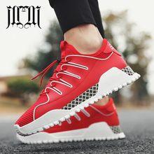 837e93a75 MumuEli 2019 Novo Preto Vermelho Branco de Alta Qualidade Dos Homens  Sapatos Casuais Respirável Moda de