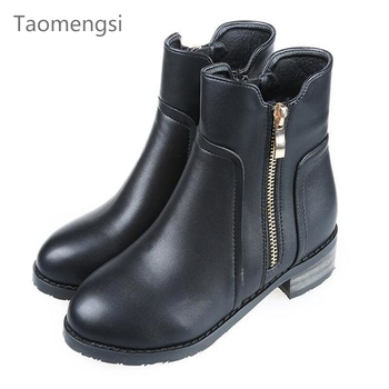 Taomengsi New Winter Boots With Solid Rivets In Europe With Velvet Matte Leather black Boots With Thick Slip Female Wholesale