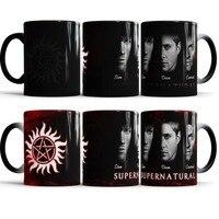 Supernatural Mug Sam Dean Castiel Heat Changing Color Ceramic Tea Cup Heat Sensitive Mug Transforming Black