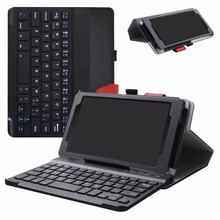 For 7.0″ Lenovo Tab 7 Essential / Lenovo Tab 4 7 Ess Removable Bluetooth Keyboard Tablet,Portable Folding Stand Case
