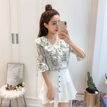 2019 womens tops and blouses Fresh Style V-Neck Half Sleeve Fashion Floral Print Chiffon Lace Up Blouse v neck floral print lace up front blouse