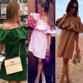 2016 Fashion Sexy Womens Boho Off Shoulder Dresses Casual Loose Beach Wear OL Mini Dress