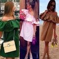 2016 Moda Sexy Womens Boho Off Vestidos Ombro Casual Solta Praia Desgaste OL Mini Vestido
