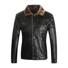 PU Men jacket Coat Brand leather jacket men thick velvet jaqueta couro winter Overcoat jackets large size XXXL 4XL homme parka