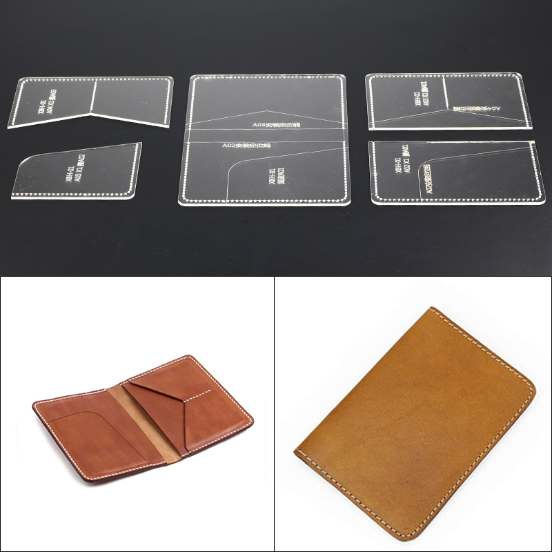 1 Set Diy Leather Wallet Passport Bag Acrylic Template Leather Craft Sewing Pattern Accessories 10 15 2cm