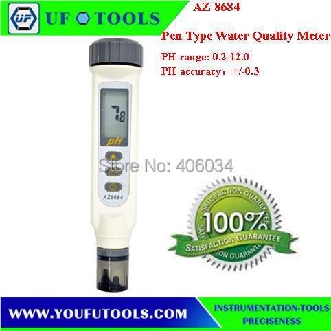 New AZ8684 Digital Waterproof Pen type Ph/Temperature Meter Dual LCD Display AZ 8684