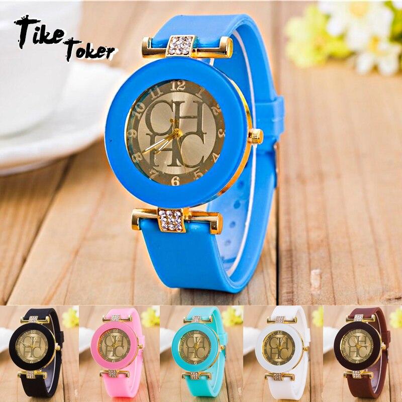 2020 Hot sale Fashion Black Geneva Casual CHHC Quartz Women watches Crystal Silicone Watches Relogio Feminino men's Wrist Watch 2