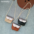 monsisy 5pcs/lot Fashion unisex baby shoulder bags coin purses vintage PU glitter messenger bags kawaii boys girls crossbody bag