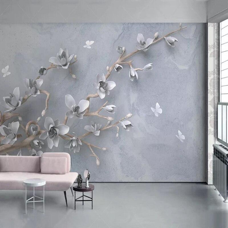 Custom Photo Wallpaper Modern Simple 3D Stereo Magnolia Flower Butterfly Mural Living Room TV Sofa Bedroom Background Wall Decor