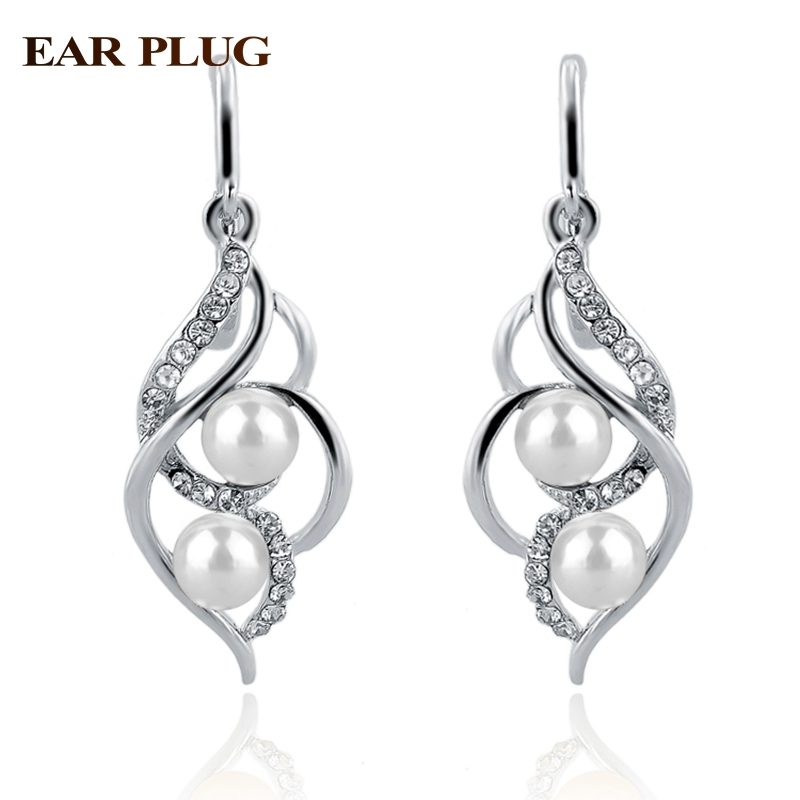 Toucheart Imitation Fancy Earrings Fashion Jewelry With Stones Gold Color Pearl Earring For Women Penntes Ser140229 In Drop From