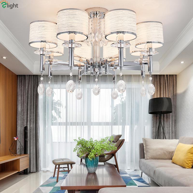 Modern Lustre Crystal Led Chandeliers Lighting Chrome Living Room Led Pendant Chandelier Lights Bedroom Hanging Lamp Fixtures modern hanging chandelier lighting living room dinning crystal chandelier led lights chrome chandeliers modern crystal lighting