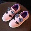 Muchachas de la princesa Zapatos de Los Niños 2017 Nueva Primavera Verano Moda Arco Lindo Girls Sneakers Niños Zapatos Corrientes Suaves Zapatos Casuales