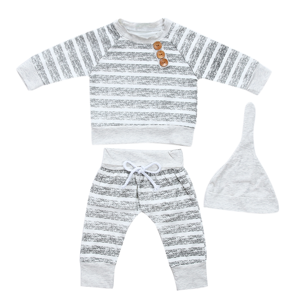Casual Spring Fall Winter Baby Cllothing Grey Stripe Boy Long Sleeve T-shirt Long Pants Hat Set Cotton Baby Boy Clothes Set