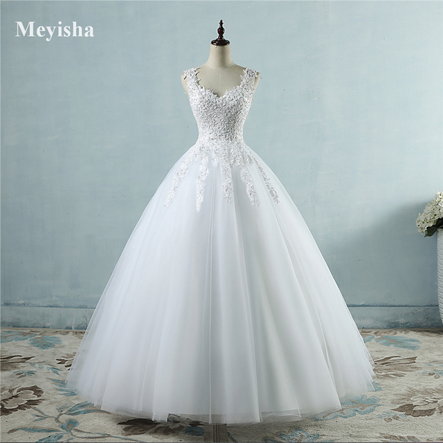 ZJ9076 Ball Gowns Spaghetti Straps White Ivory Tulle Wedding Dresses with Pearls Bridal Dress Marriage Customer Made Size