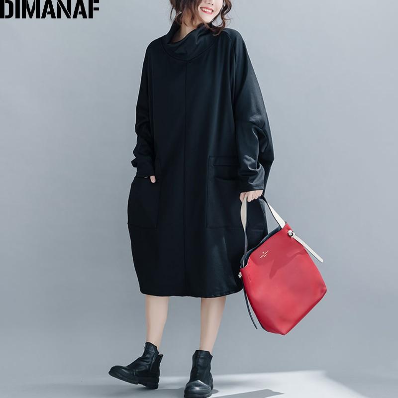 DIMANAF Plus Size Women Dress Winter Loose Vintage Vestidos Knitting Cotton Female Dress Thick Turtleneck Batwing Large 5XL 6XL