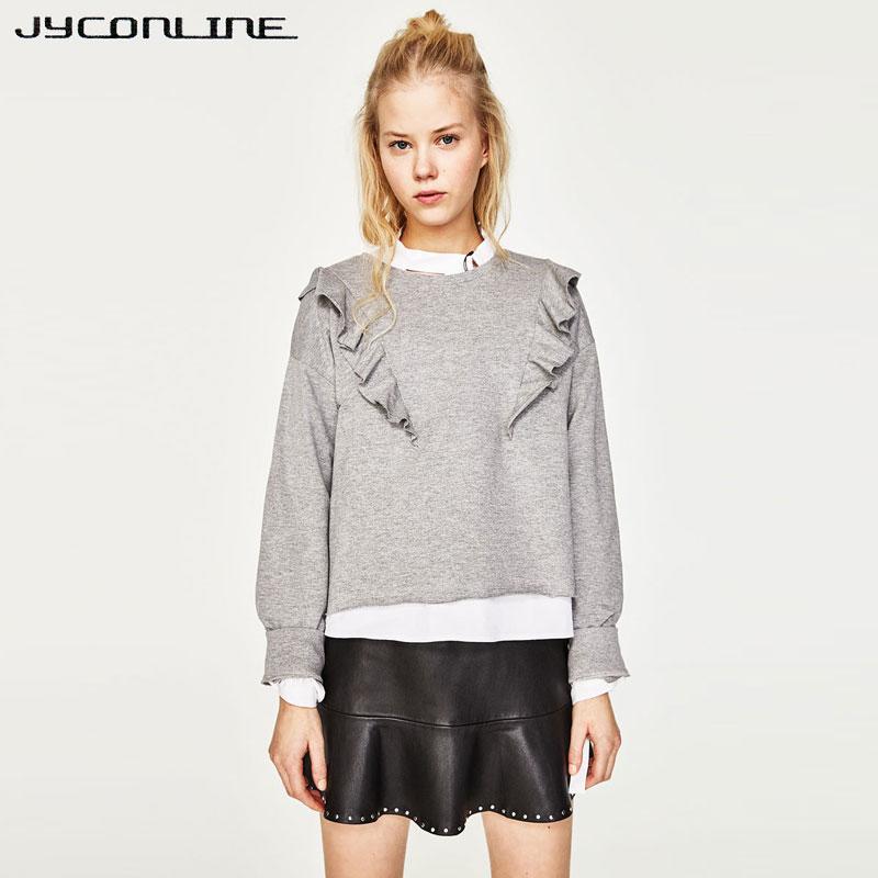 JYConline Preppy Sweet Sweatshirt Casual Frilled Women Hoodies Short Cropped Sweatshirt For Woman Pullovers Hoody Tracksuit