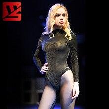 Sexy Women Camo 3D Galaxy Shiny High Cut Bodysuit Neck Halter Black One Piece Bottom Wear Plus Size F54