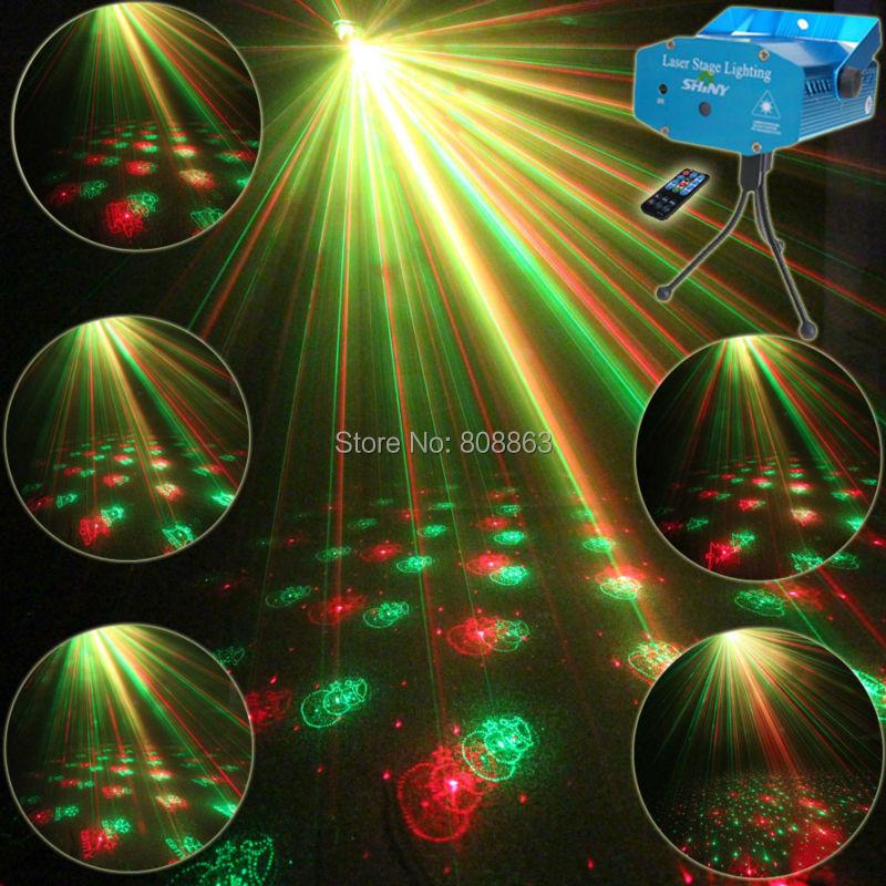 Mini R&G Remote 6 Christmas Patterns Laser Projector Club Bar Coffee Shop Dance Disco Party Xmas DJ Effect Light Show+ Tripod R6 rg mini 3 lens 24 patterns led laser projector stage lighting effect 3w blue for dj disco party club laser