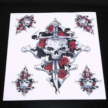 1 Sheet Red Rose Skull Self-adhesive Sticker Motorcycle Motorbike Fuel tank Waterproof Decal