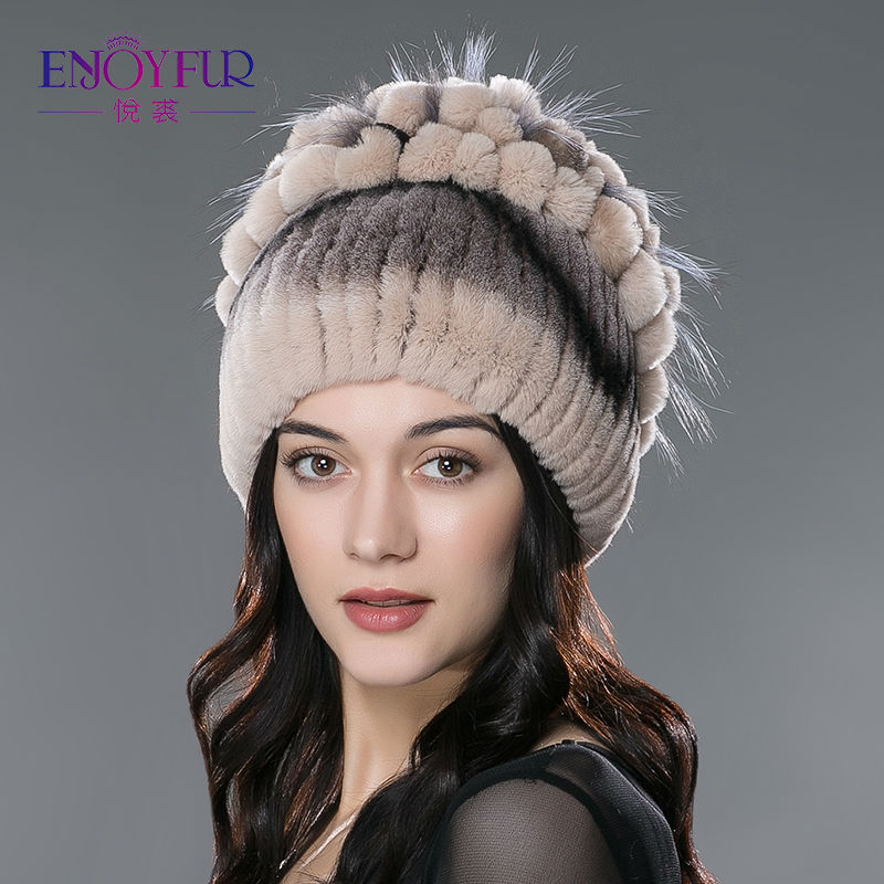 Winter fur hat for women real rex rabbit fur hat with silver fox fur flower knitted beanie 2015 new sale high-end women fur cap