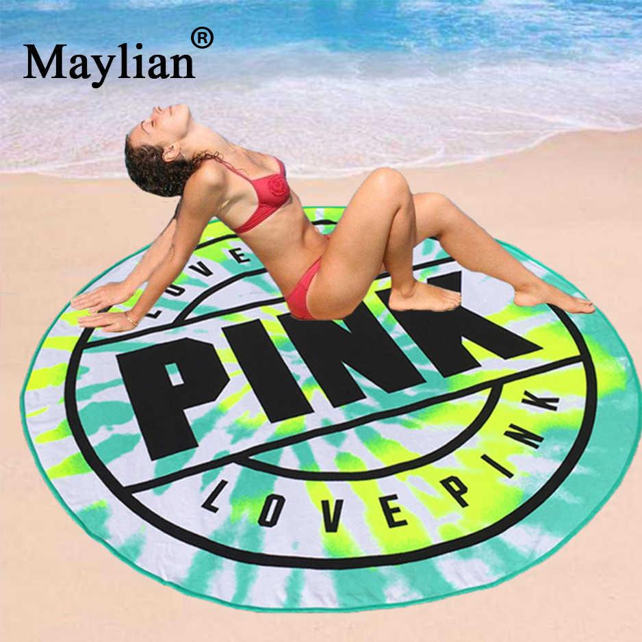 52153a1ce6499 Pink VS Beach Towel Absorbent Quick Drying Swimming Bath Beach Towels  Picnic Blanket Yoga Mat 160cm