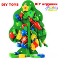 1/Set DIY Wooden strings beads toys  Christmas trees Wear beads inserted beads toy Children educational toys my fruit tree toys