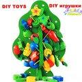 1/set diy cordas contas brinquedos de madeira árvores de natal desgaste contas inserido contas brinquedo das crianças brinquedos educativos a minha fruta brinquedos da árvore de