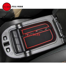 Car Armrest Box Storage Organizer Container Tray with Logo for Jeep Compass 2017 Auto Interior Stowing Tidying Accessories