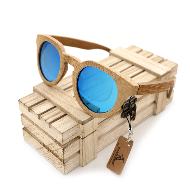 BOBO BIRD 2017 Unisex New Arrival Vintage Bamboo Sunglasses Women Men Best Gift Outdoor Goggles Sunglasses Male With Wooden Box