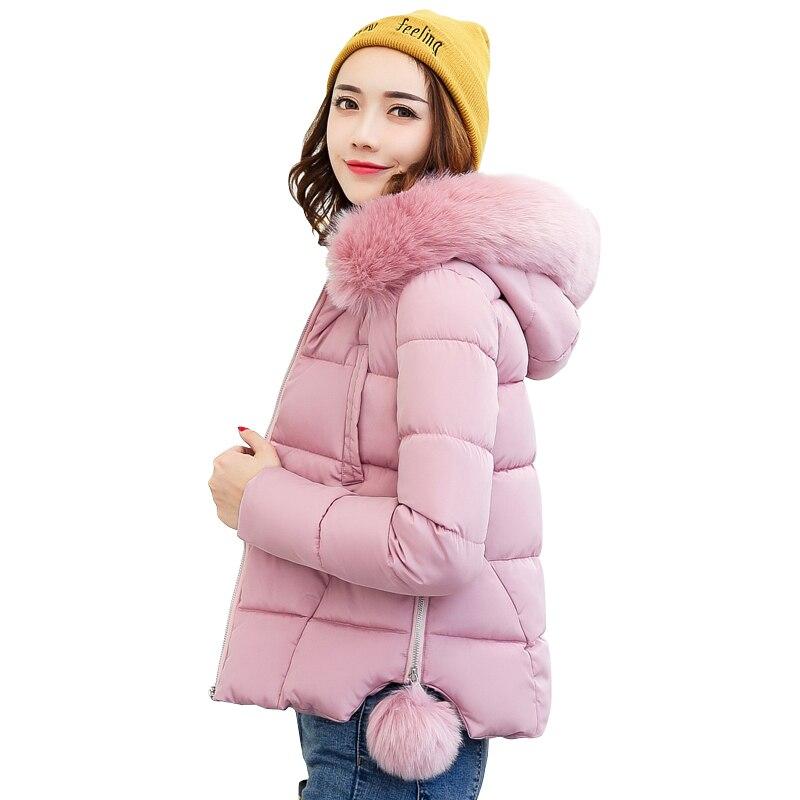 2019 Hooded big fur collar jaqueta feminina short female women winter jacket coat cotton padded warm casaco feminino