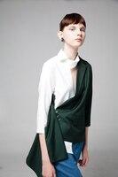 Для женщин блейзеры оригинальные Лоскутные семь рукавом Разделение тонкий нерегулярные костюм пиджак женский тонкое пальто красный зелен