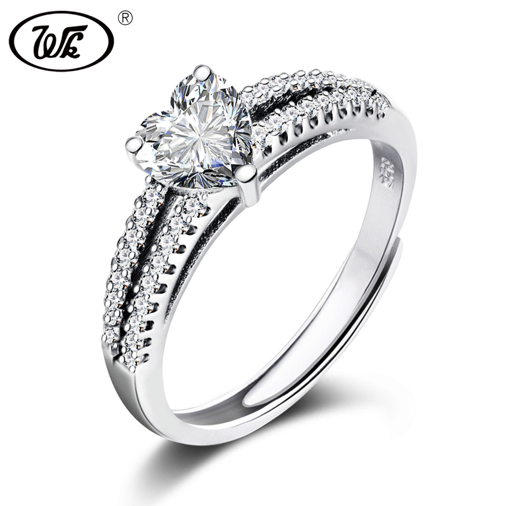 WK Real 925 Sterling Silver Heart Ring Women Female Luxury Cubic Zirconia  Bridal Wedding   Engagement Jewelry Wholesale W3 RA025 98fe1150b8
