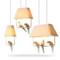 BOKT Vintage Fabric Chandelier LED Indoor birdcage light For Bedroom Kitchen Living Room Fabric Lampshade Ceiling Home Lighting