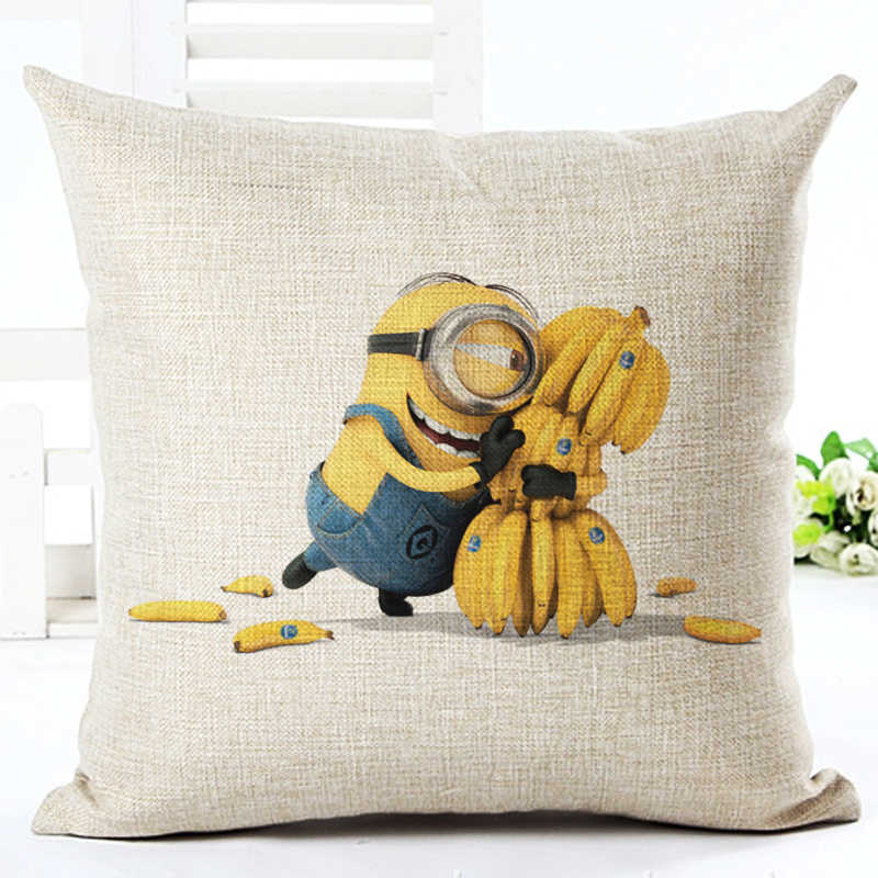 High Qualtity Cartoon Style Cute Minion New Home Decorative Cushion Sofa Throw Pillow Square Cojines Cotton Linen Almofadas