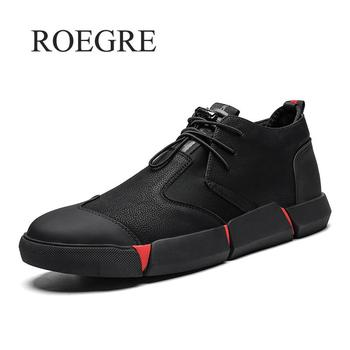 2019 New Black Men's Leather Casual Shoes New Brand High Quality Fashion Breathable Sneakers Fashion Flats Male Shoes