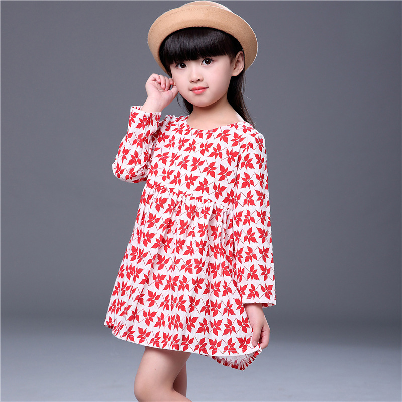 3d35dfb9b Spring Autumn Children Girls Dresses Beautiful Maple Leaf Printed ...
