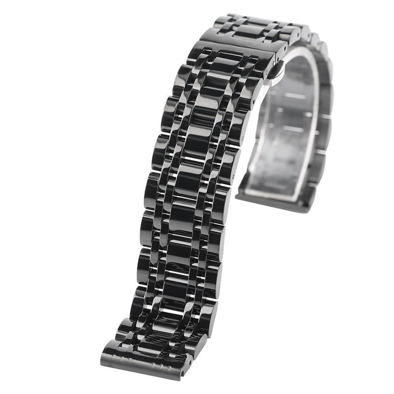 где купить Luxury 20/22mm Watch Band Stainless Steel Solid Link Folding Buckle Push Button Hidden Clasp Metal Strap Replacement Bracelet по лучшей цене