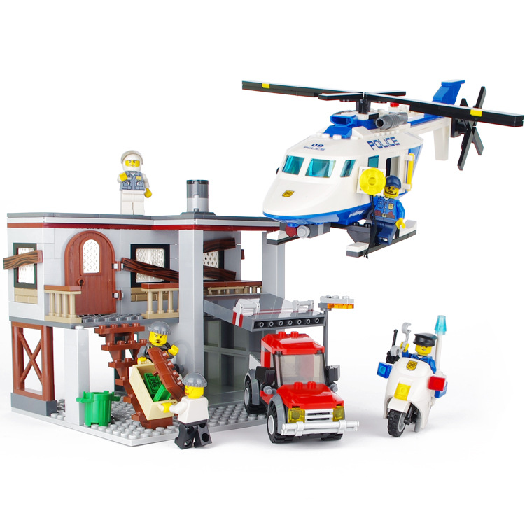 Models building toy 9318 465Pcs City Police Station Bricks Helicopter Building Blocks compatible with lego toys & hobbies