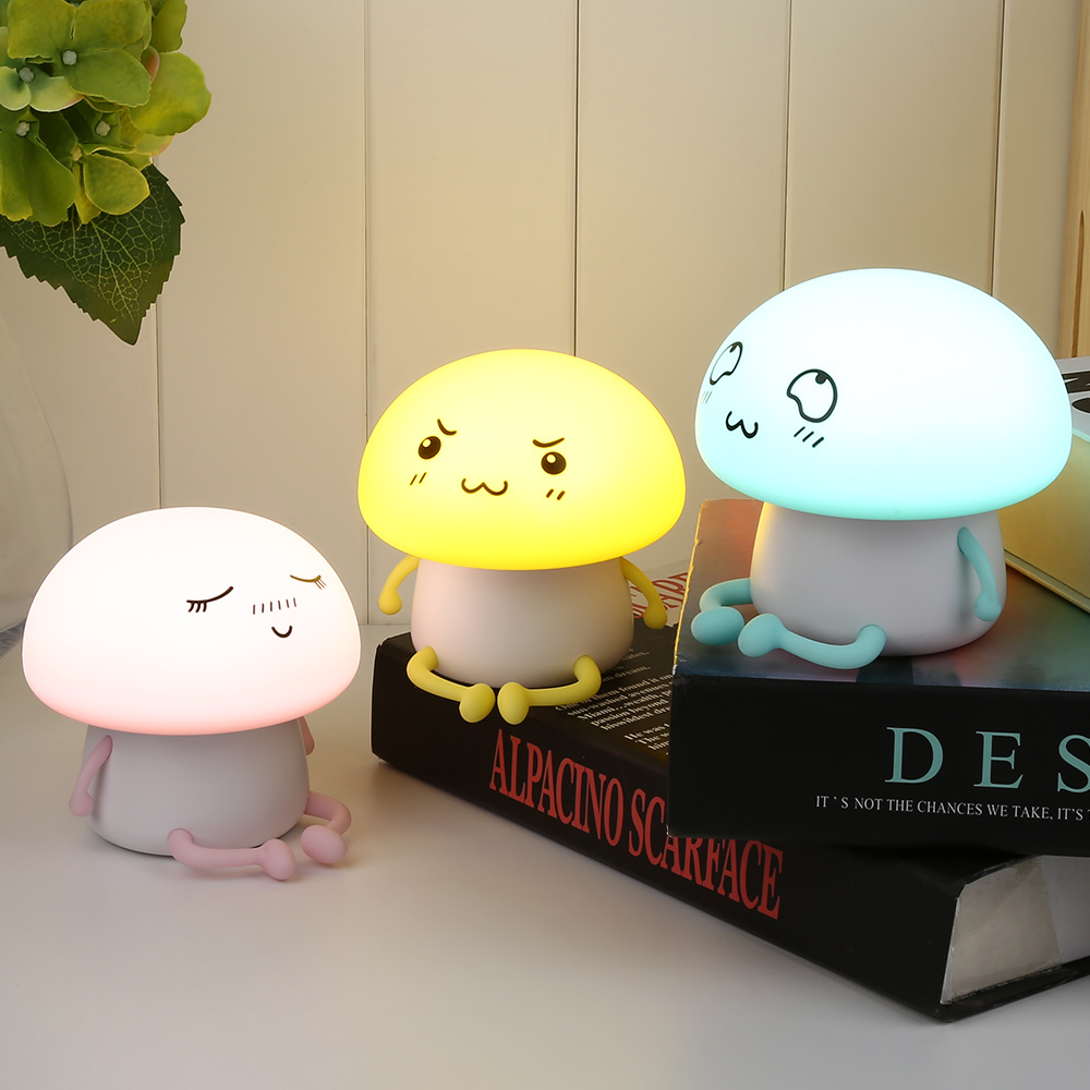DCOO Soft Silicone Portable Kids USB Charge Carton Night Light LED Atmosphere Tap Control Lamp Bedroom Nursery Baby
