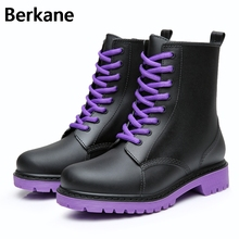 Водонепроницаемые резиновые сапоги; Mujer; обувь на резиновой подошве и на шнурках; брендовые полусапожки на нескользящей резиновой подошве; водонепроницаемая обувь; женские ботинки высокого качества