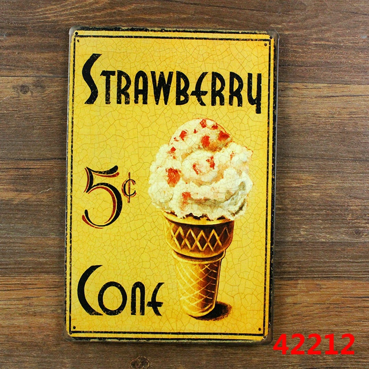 "Antique Cream Wood Metal Wall Decor: New Arrival "" Strawberry Ice Cream "" Metal Vintage Tin"