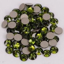 Хорошее качество, ss3-ss34, оливин, плоская задняя сторона, дизайн ногтей, клей на не горячей фиксации кристаллов