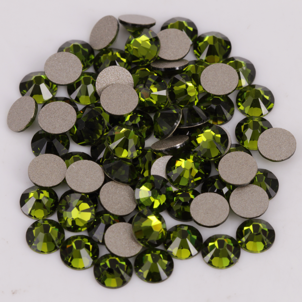 Good Quality ss3-ss34 Olivine Flat Back Nail Art Glue On Non Hot Fix Crystals(China)