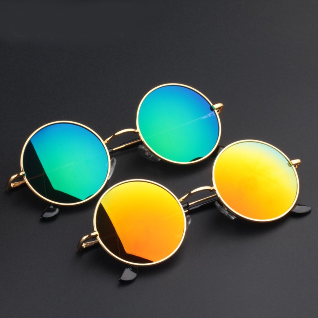 Retro Fake Myopia Eyeglasses Frame Round Metal Frame Women Men Sunglasses Polarized glasses in Men 39 s Eyewear Frames from Apparel Accessories
