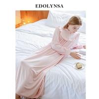 Autumn Sexy Long Sleep Lounge Cotton Sleepwear Female Home Dress Lace Princess Vintage Nightgown Women Sleeping Dress #L3